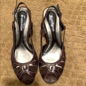 Brown open toed shoes with flattering cutouts